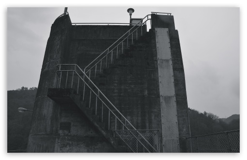 Download Dam Stairs Black And White UltraHD Wallpaper