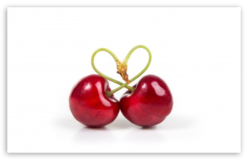 Download Love Heart Cherries UltraHD Wallpaper