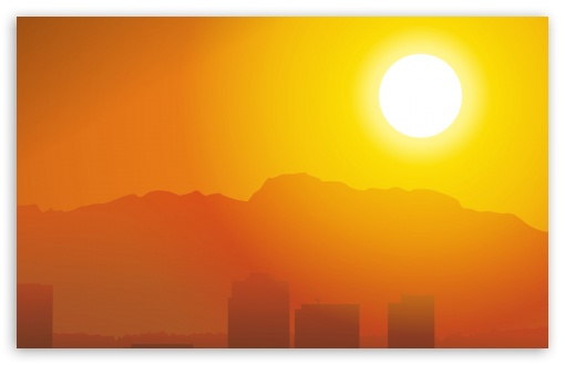 Download City Hot Sunset UltraHD Wallpaper