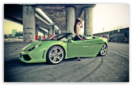Download Girl With Lamborghini Gallardo UltraHD Wallpaper