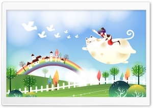 Childhood Fairytales Flying Cat