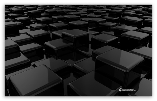 Download 3D Cubes Black UltraHD Wallpaper