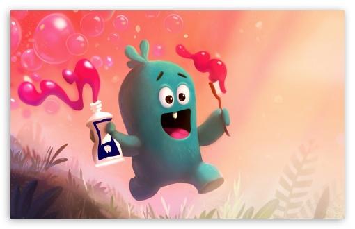 Download Cute Baby Monster Brushing Teeth Illustration UltraHD Wallpaper