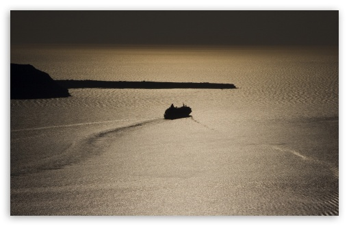 Download Santorini Sunset View UltraHD Wallpaper