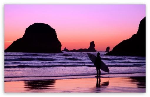 Download Surfer At Sunset Cannon Beach Oregon UltraHD Wallpaper