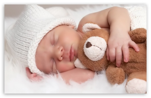 Download Cute Baby With Teddy Bear UltraHD Wallpaper