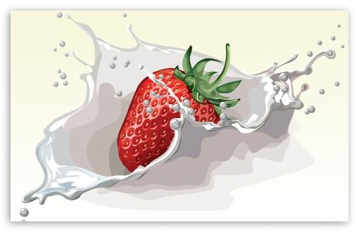 Download Strawberry Splash UltraHD Wallpaper