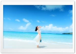 Girl Beach Background