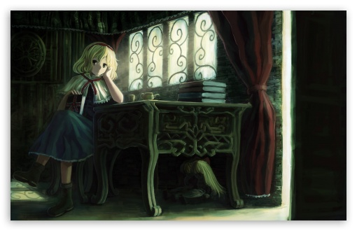 Download Girl With Books UltraHD Wallpaper