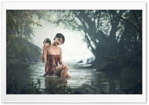 Girl Bathing Outdoor