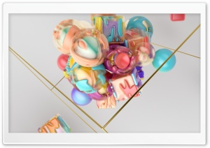 Colorful 3D Shapes Abstract Art