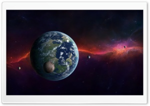 Earth, Moon And Other Planets
