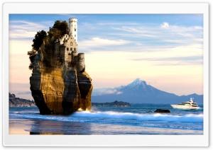 Castle On Cliff In Sea
