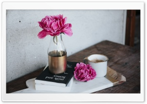 Pink Peony Flower, Books,...