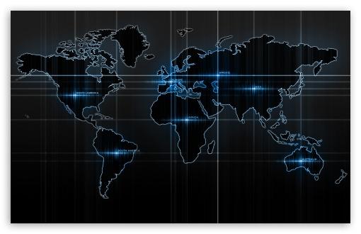 Download World Map Blue UltraHD Wallpaper
