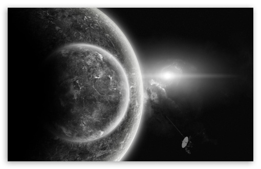 Download Planets In Black And White UltraHD Wallpaper