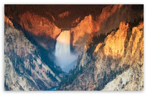 Download Lower Falls of the Yellowstone River Sunrise UltraHD Wallpaper