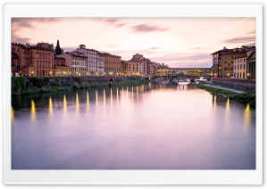 Ponte Vecchio at sunset,...