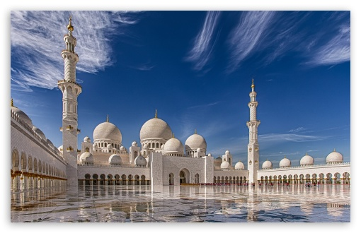 Download Sheikh Zayed Mosque in Abu Dhabi, United Arab... UltraHD Wallpaper