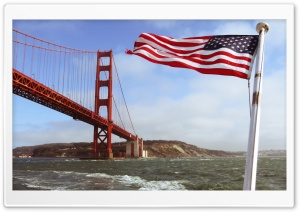 Golden Gate with the US Flag